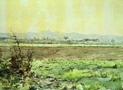 Saint-Félix de Lauraguais, watercolour by Déodat de Séverac