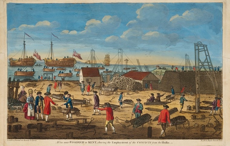 View near Woolwich in Kent shewing [sic] the employment of the convicts from the hulks, c. 1800. From the collections of the State Library of NSW.