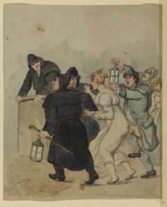 Fig. 4 Rowlandson Arrest of a Woman at night