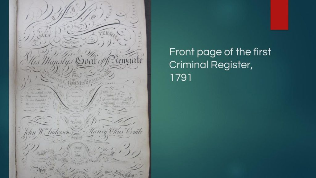 Lavishly embellished front page of 1791 Criminal Register