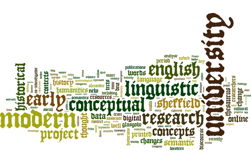 Word cloud visualising words from the Linguistic DNA Project website.