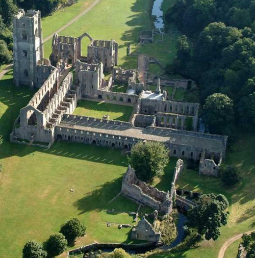 Ariel photograph of Fountains Abbey