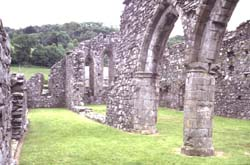 Cymer Abbey nave from the east
