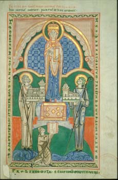 MS 130 f. 104: St Stephen Harding (right) and the Benedictine abbot of St Vaast (left) present models of their churches to the Virgin. A scribe, Osbert, is shown at the foot of the image and offers his manuscript.