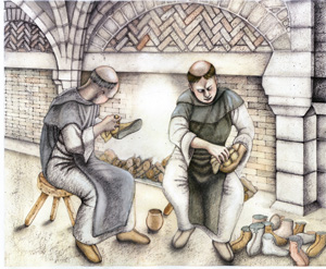 Artist's impression of a monks cleaning boots in the warming house