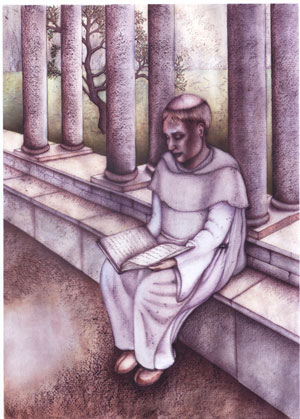 Artist's impression of a monk reading in the cloister