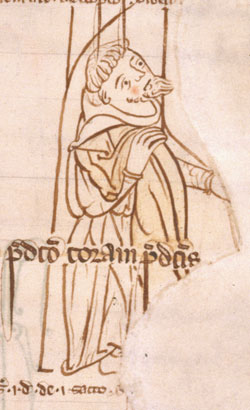 Doodle of a lay-brother in a 13th century Beaulieu manuscript