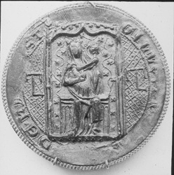 Seal from Kirkstall Abbey depicting the Virgin Mary