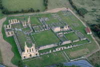 Aerial view of the precinct of Byland Abbey