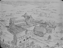 Artist's reconstruction drawing showing a bird's eye oblique view of Kirkstall Abbey as it might have looked from the south west during the 12th/13th century.