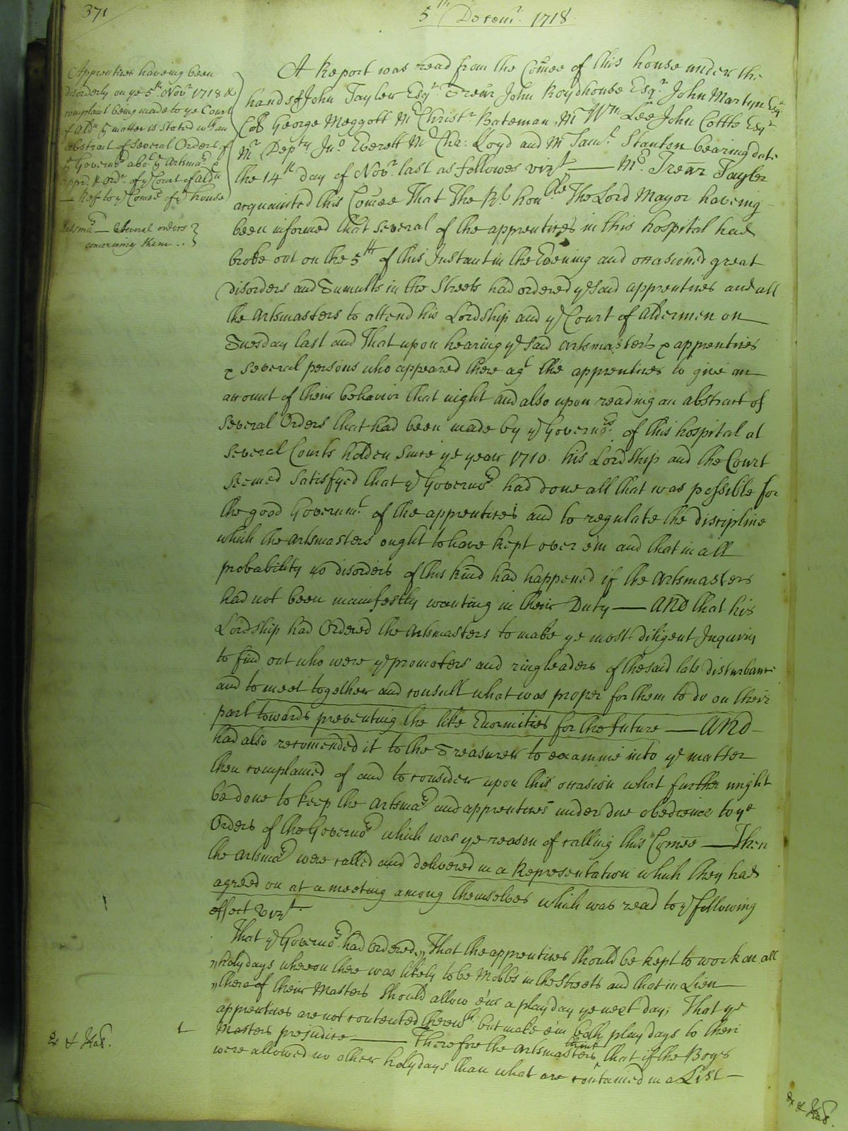 A detailed report of the role of the Bridewell boys in the riots of 5 November 1718