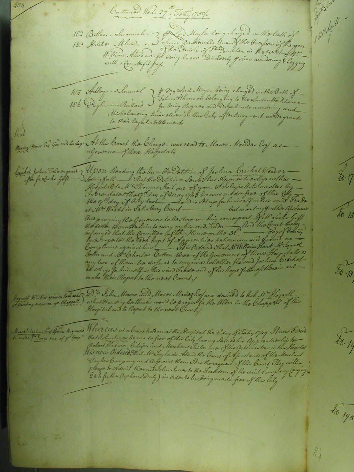 A minute of the Court of Bridewell, 27 February 1750/1, recording the conviction of two vagrants from the London Workhouse