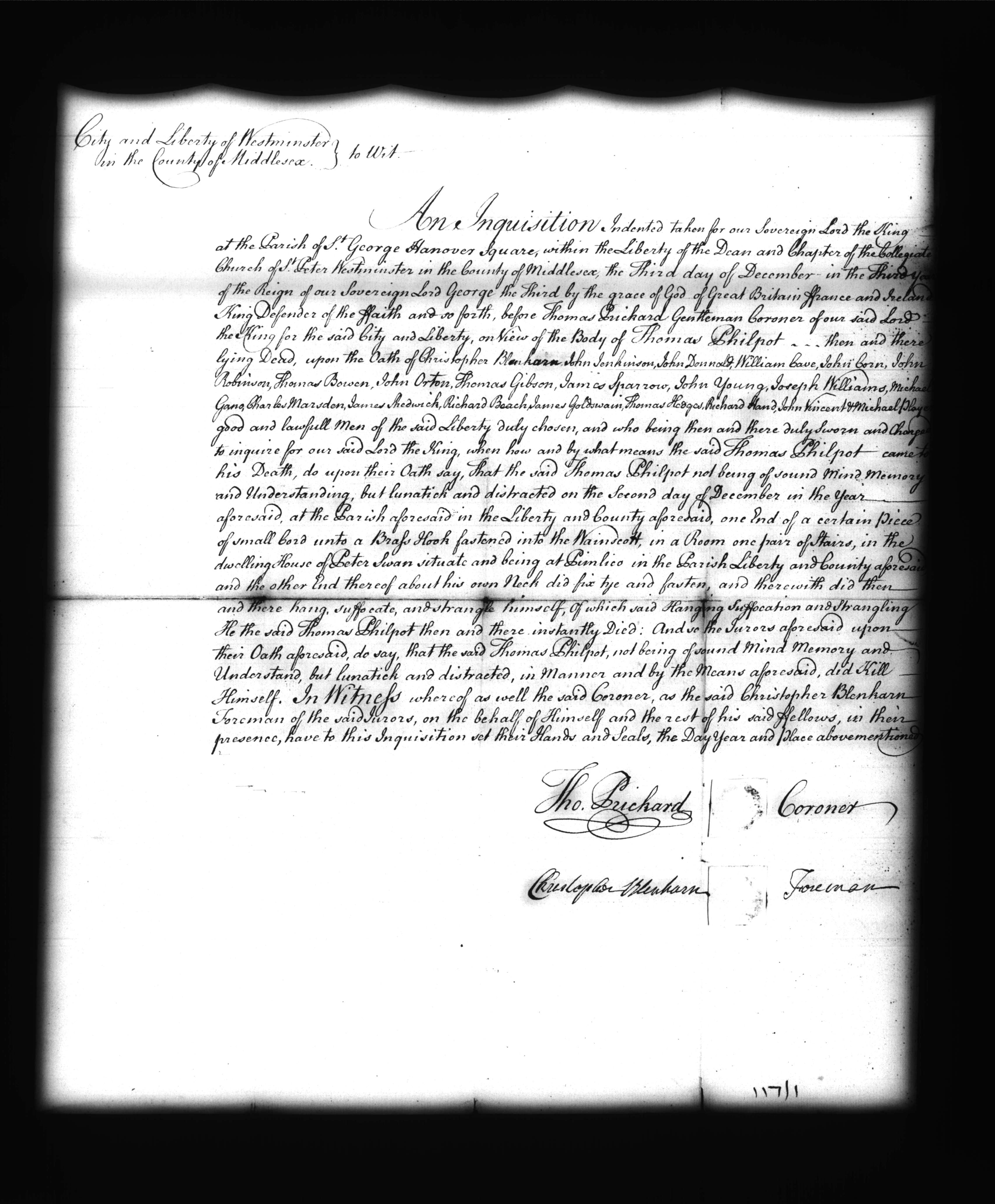 The formal legal text of the coroner's inquest relating to the death of Thomas Philpot, dated 3 December 1762