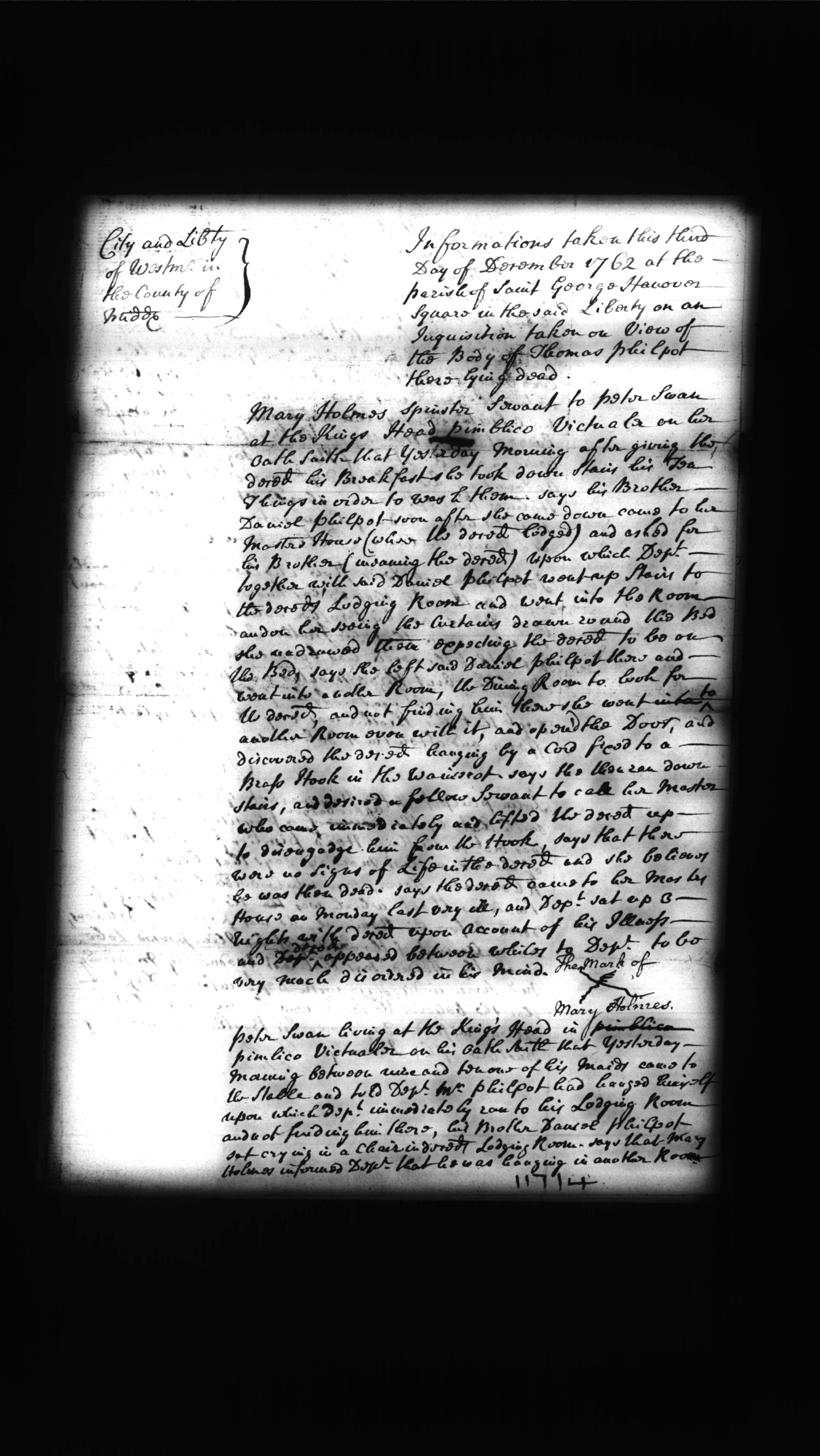 A deposition by Mary Holmes relating to the death of Thomas Philpot, 3 December 1762