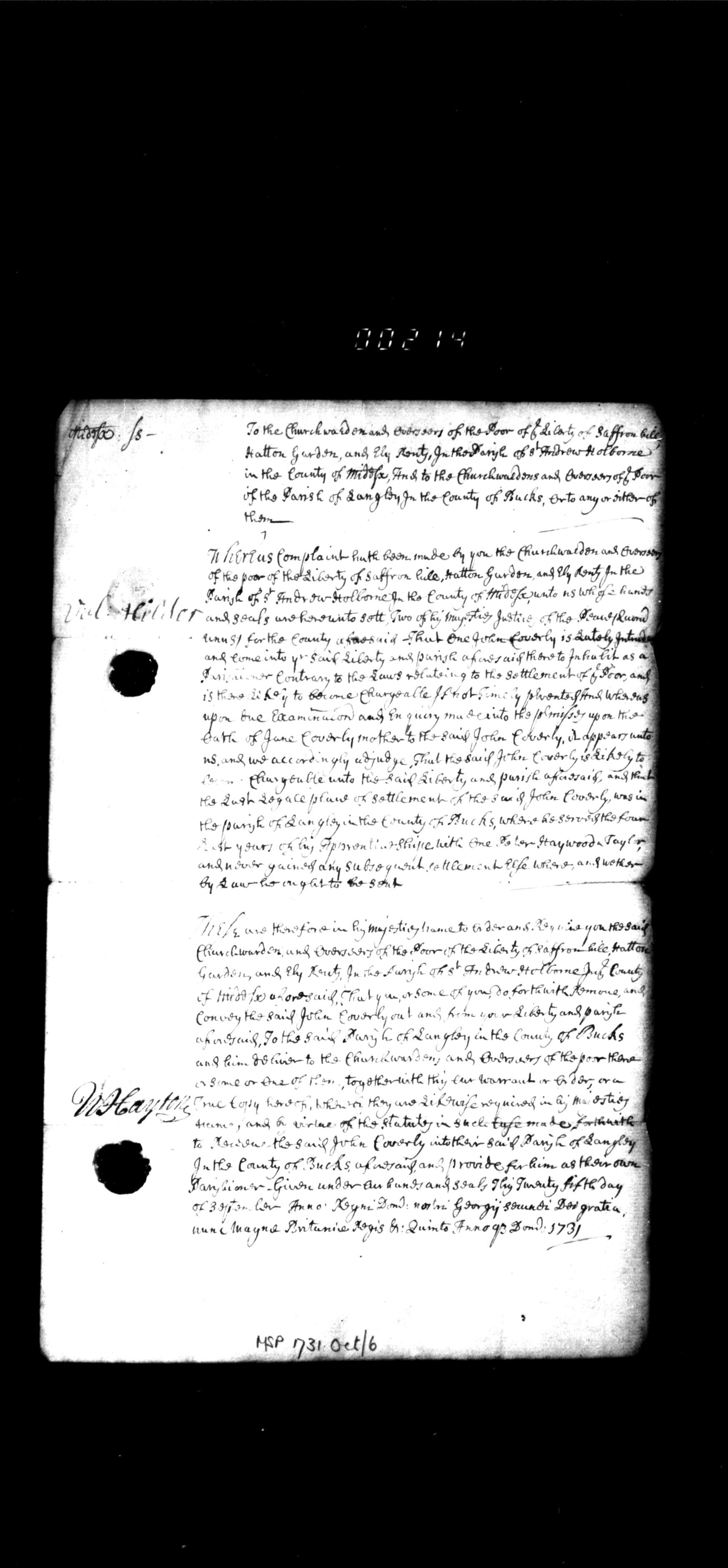 A copy of the judgement passed by the Middlesex bench in response to a poor law appeal relating to the settlement of John Coverly, 12 September 1731
