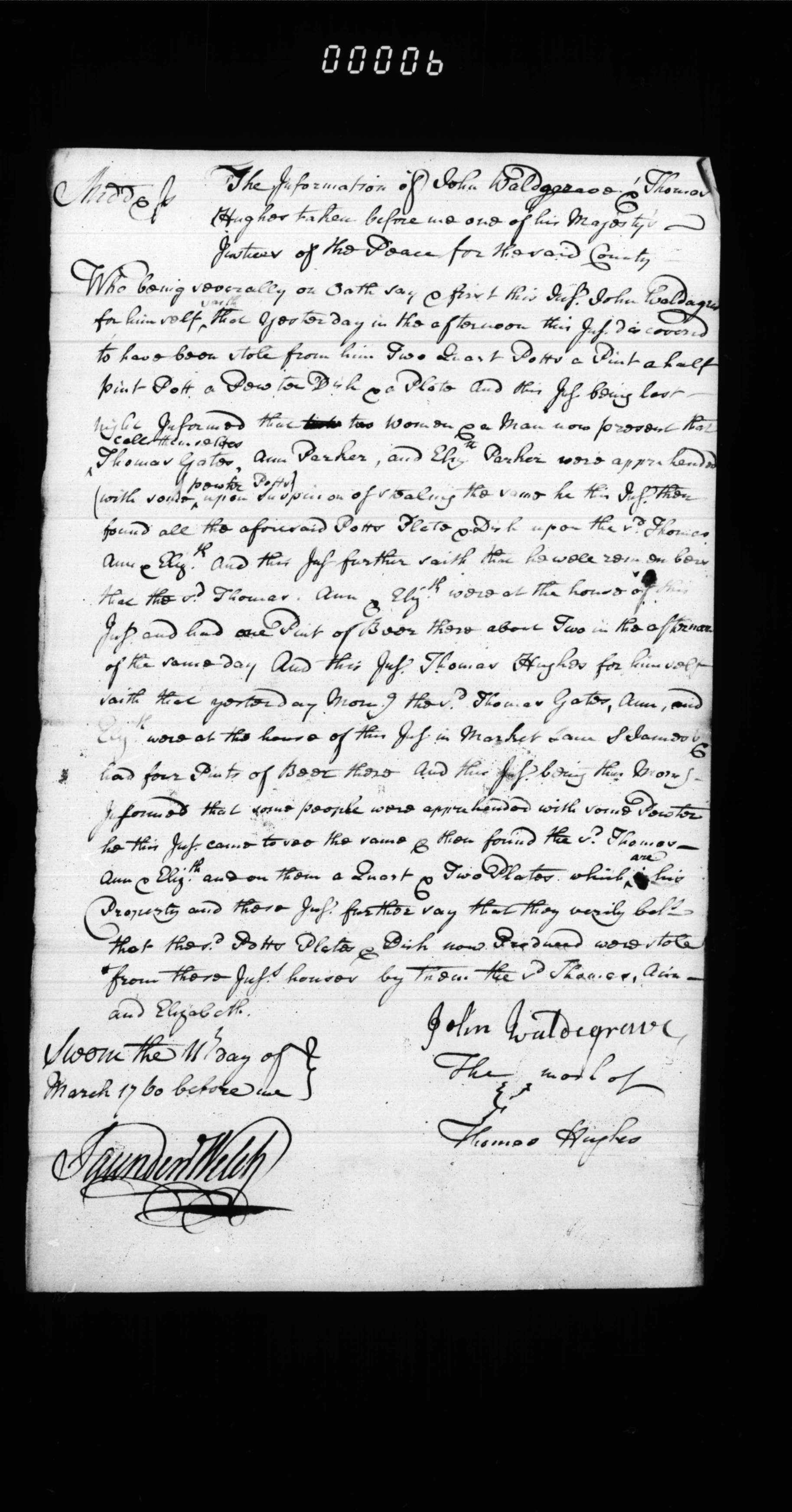 An information relating to the theft of two pewter pots, dated 11 March 1760