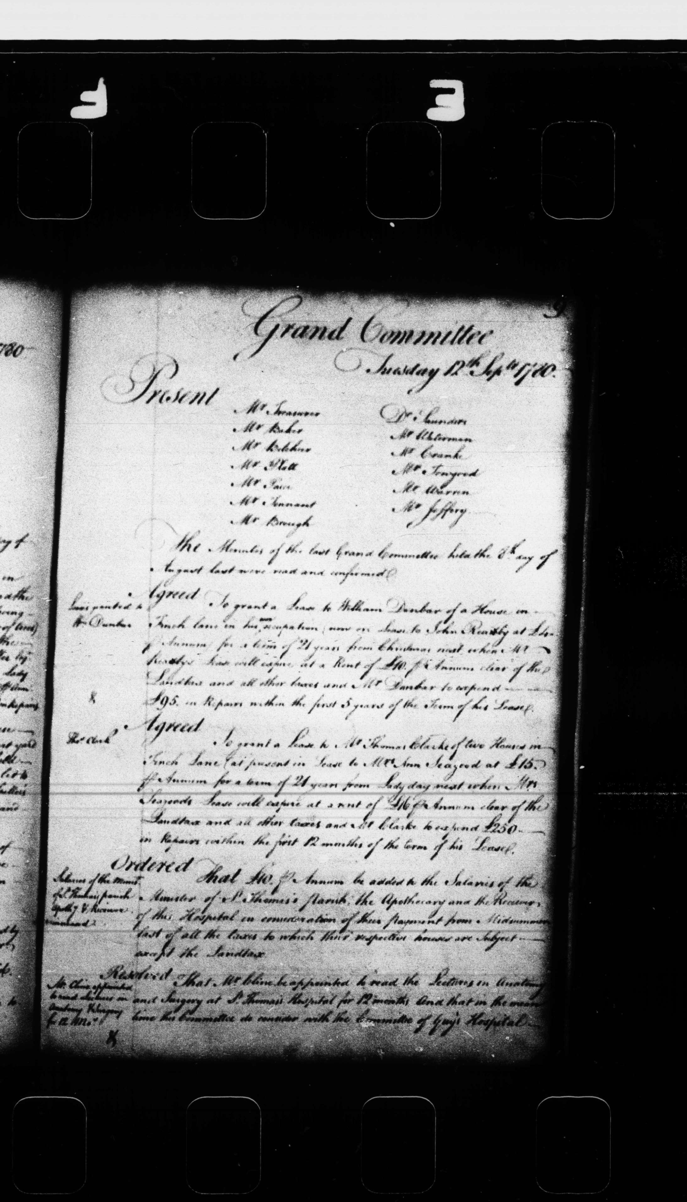 A page of minutes from the Grand Committee Minutes of St Thomas's Hospital, dated 12 September 1780.  The minutes relate primarily to business regarding the hospital's property holdings.
